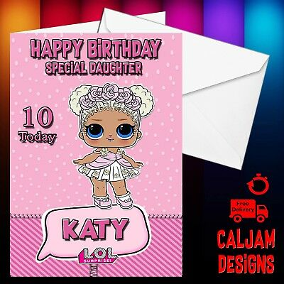 Lol Dolls Surprise Birthday Card Flower Child Any Name Or Text