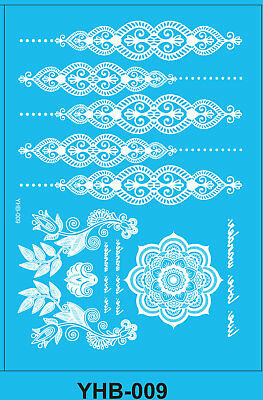 White Boho Bracelet flower Henna Lace Body Hand Hair Stencil Temporary Tattoo
