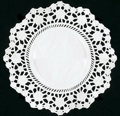 "250 x White 4.5"" Round Paper Lace Doilies Doyles For Plates and Parties"