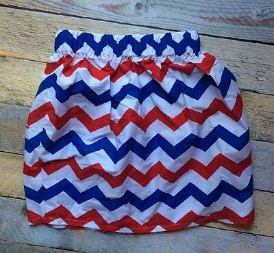 New Size 4T Red White Blue 4Th Of July Chevron Skirt