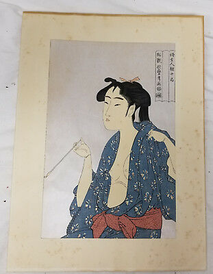 Antique Japanese Woodblock Utamaro Kitagawa Lady Geisha Smoking Signed Print