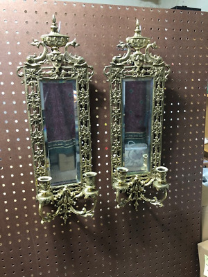 """PAIR Antique """"Dolphins with Urn"""" Crest Brass Mirrored Wall Sconces - 2 Feet High"""