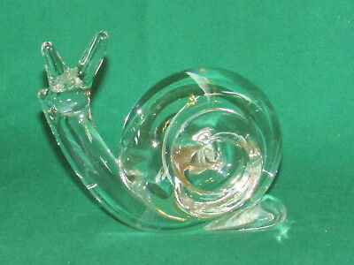 Vintage Blown Glass Snail Figurine Paperweight EXC