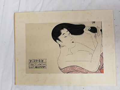 Antique Japanese Utamaro Kitagawa Woodblock Print Lady Hair Geisha SIgned