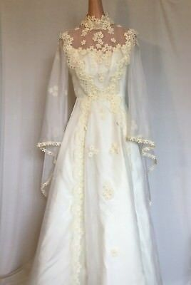 Vintage Handmade Wedding Dress Victorian Butterfly Sleeves Small Bohemian