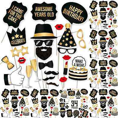 Birthday Party Celebration DIY Photo Booth Props Stand Mask On A Stick Mustache