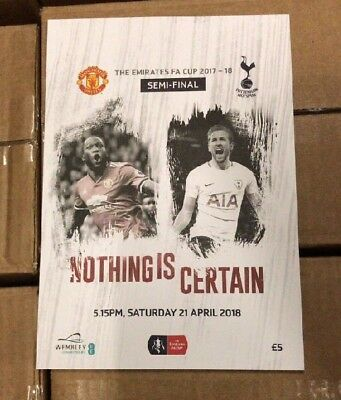 Fa Cup Semi Final 2018 Manchester United Vs Tottenham Programme