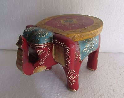Wooden Elephant Baby Stool Embossed Painted Handcrafted Home Decor