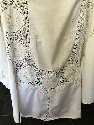 Antique Embroidery And Lace Tablecloth