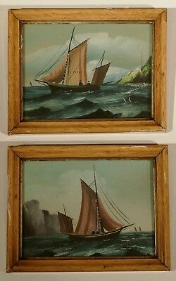 Antique Victorian Pair Miniature / Small Maritime Oil Paintings - Fishing Boats