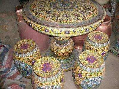 33'' A set of Bronze cloisonne Gold enamel dragon flowers figure table and chair