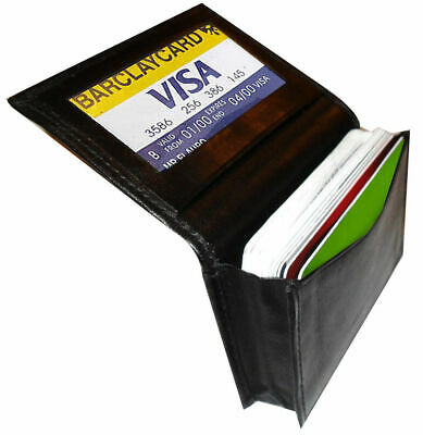 Black Genuine Leather Expandable 18+ Credit Card ID Business Card Holder Wallet