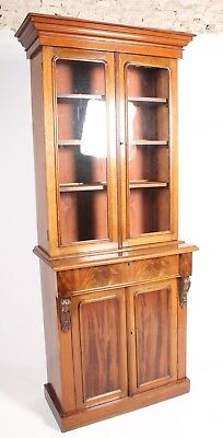 Good C19th Antique Victorian Flame Mahogany Glazed Library Bookcase