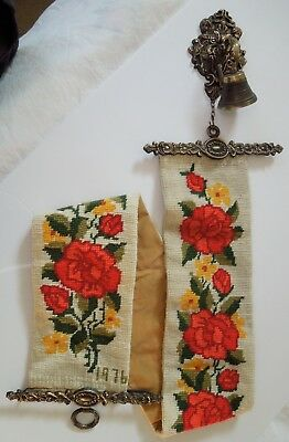 Vtg 1976 Needlepoint Roses Flowers Bell Pull ~ Original Bell and Ornate Hardware