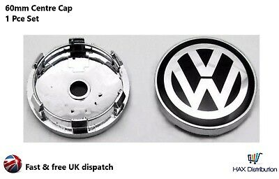VW Volkswagen Alloy Wheel Centre Cap 60mm Badge x1  Black/Silver - UK STOCK