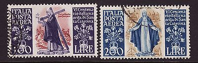 Italy C127-8 Used Vf 100 and 200 lire St. Catherine