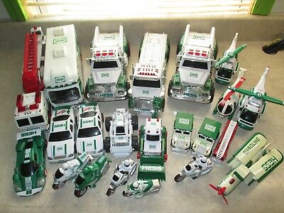 Lot Of 22 Collectible HESS Gas Trucks Motorcycle Fire Truck Dump Plane