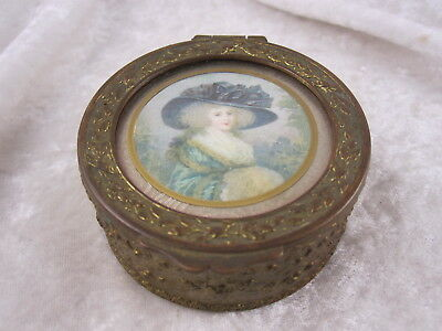 Antique Victorian Picture Metal Jewelry Casket Box