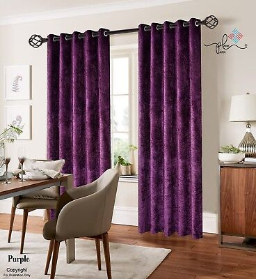Plum Luxury Crushed Velvet Window Curtains Ready Made Lined Eyelet Ring Top