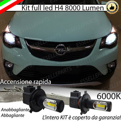 Kit Full Led Opel Karl Led H4 6000K Bianco Ghiaccio No Error 8000 Lumen