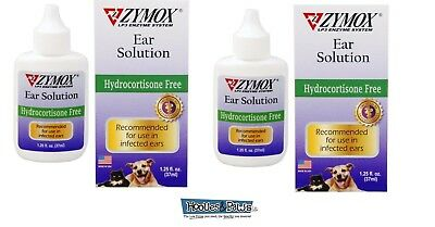 Zymox Otic Ear Treatment Dog Cat Pet Solution Hydrocortisone Free 1.25 oz 2 Pack