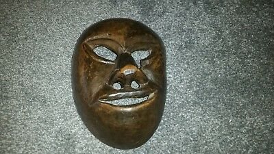 African Wooden Mask Unknown Tribe But Large Fulfilling Face