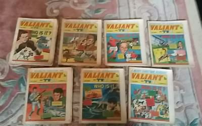 Vintage Retro 7 x 1971 Valiant and TV 21 Comics Including Xmas and Elvis Issues