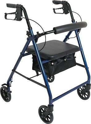 NEW Lightweight Aluminum ProBasics Rollator Foldable Walker With Wheels Blue