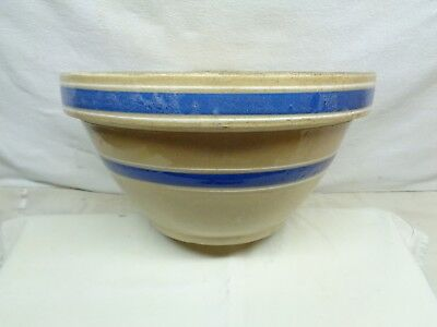 Large Antique Stoneware Mixing bowel with Blue & White Bands