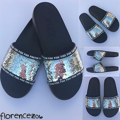 b12369f47cd7 Victoria s Secret Pink Slides 2018 Silver Irredescent Sequin Bling Shoes  7 8 M