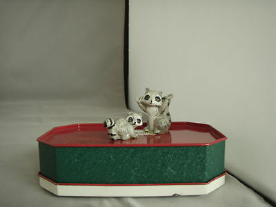 Vintage Mother and Kit Raccoons, pair of porcelain figurines, MINT