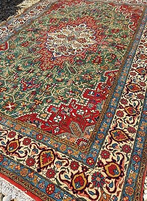 Ghom Persian fine handknotted wool rug green blue red