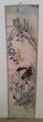 Qing Dynasty antique Chinese scroll showing a crane. Hand painted not signed