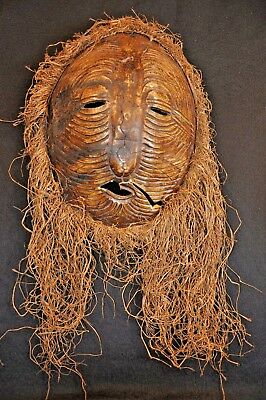 Antique African Tribal Mask Tortoise Shell Turtle w/ Grass Hair & Carved Shell