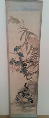 Qing Dynasty antique Chinese scroll showing 2 quails. Hand painted not signed