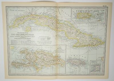 Antique Greater Antilles Map - XL - Cuba Haiti Jamaica Porto Rico Print 1897