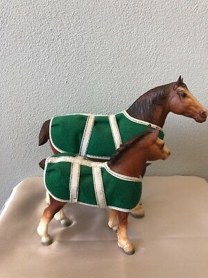 Vintage BREYER Horse Clydesdale Mare and Foal with original blankets (Lot of 2)