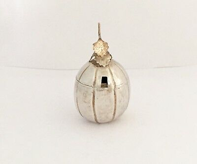 Antique Chinese Solid Silver Water Melon Mustard Pot (RR2729)