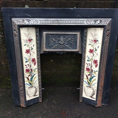 Antique Victorian Tiled Cast Iron Insert Fire Place Surround Mantle Piece