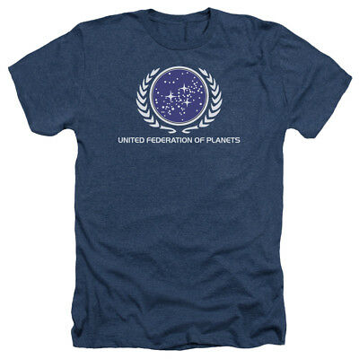 Star Trek UNITED FEDERATION LOGO Licensed Adult Heather T-Shirt All Sizes