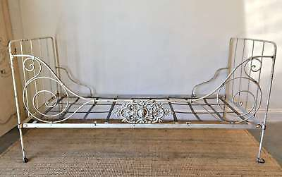 Antique French Day Bed Campaign Bed Ornate Cast Iron - QN106
