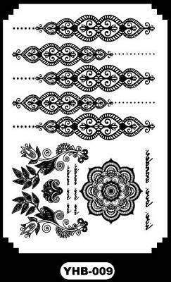 Black Boho Bracelet flower Henna Lace Body Hand Hair Stencil Temporary Tattoo