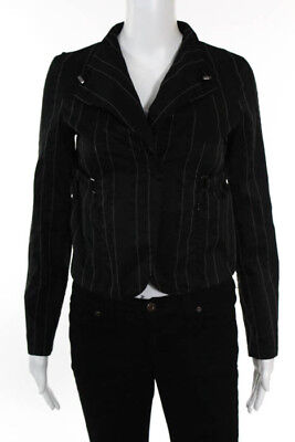 Giorgio Armani Black Pinstriped Long Sleeve ButtonFront Embellished Blazer Small