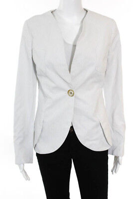 Giorgio Armani White Pinstriped Long Sleeve Button Front Slim Fit Blazer Size 38