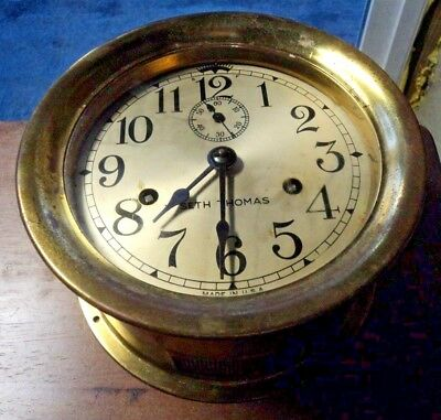 """Serviced-Timed-Brass 7"""" Seth Thomas 8-Day Ships Clock~Bells Work Perfect~w/ Key"""