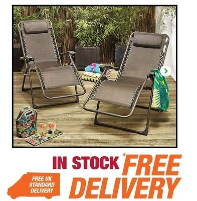 set of 2 outdoor sun oslo floating loungers garden chairs bronze