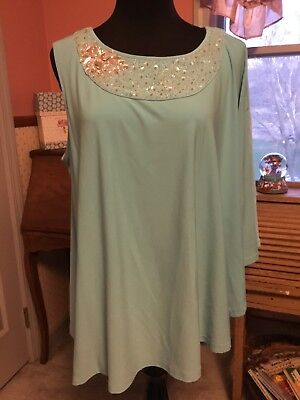 Robin egg blue top. one side sleeveless for style. Gems at neckline. sz 1X.