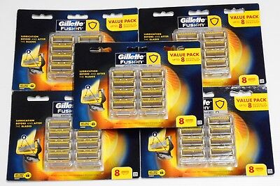 5 X Gillette Fusion Proshield Razor Pack of 8 Cartridges ( 40 Shaving Blades)