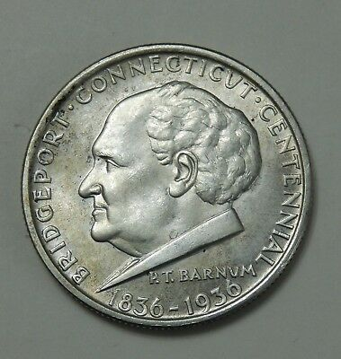 1936 Bridgeport Connecticut Half Dollar ~ AU/BU ~  50 Cent Silver Commemorative