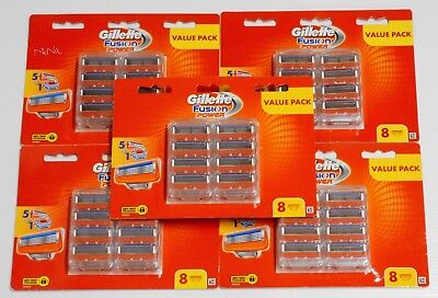 5 X Gillette Fusion Power Razor Pack of 8 Cartridges ( 40 Shaving Blades)